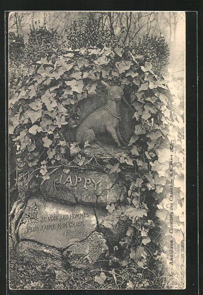 AK Friedhof, Grabstein für einen Hund