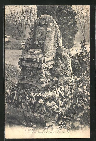AK Asnières, Cimetière des Chiens, Grabstelle auf einem Hunde-Friedhof 0