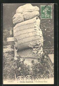AK Clichy-Asnières, Cimetière des Chiens, Grabstein auf einem Hunde-Friedhof