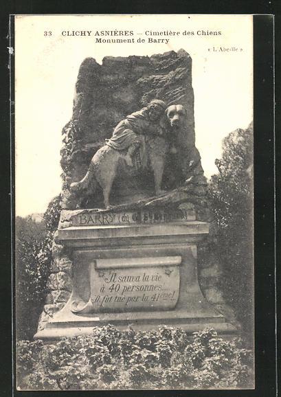 AK Clichy-Asnières, Cimetière des Chiens, Monument de Barry, Grabstein auf einem Hunde-Friedhof 0