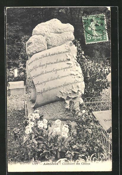AK Asnières, Cimetière des Chiens, Grabstein auf einem Hunde-Friedhof 0