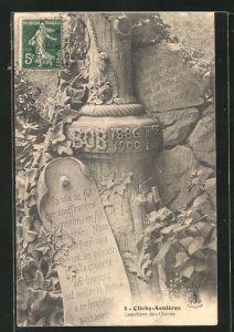 AK Clichy-Asnières, Cimetière des Chiens, Grabstein für einen Hund namens Bob