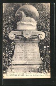 AK Asnières-Clichy, Intérieur du Cimetière des Chiens, Grabstein auf einem Hunde-Friedhof