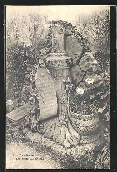 AK Asnières, Cimetière des Chiens, Hunde-Friedhof, Grabstein für einen Hund namens Bob