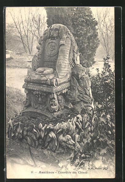 AK Asnières, Cimetière des Chiens, Hunde-Friedhof, Grabstein für einen Hund namens Esperance