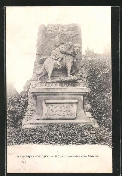 AK Asnières-Clichy, Cimetière des Chiens, Grabstein für den Hund Barry, der 40 Menschen gerettet hat, Friedhof 0