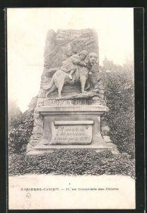 AK Asnières-Clichy, Cimetière des Chiens, Grabstein für den Hund Barry, der 40 Menschen gerettet hat, Friedhof