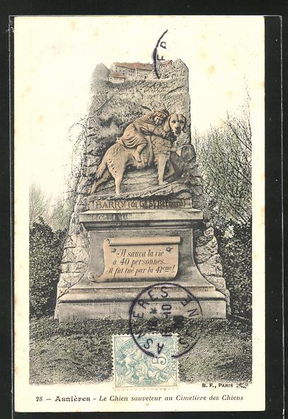 AK Asnières, Le Chien sauveteur au Cimetière des Chiens, Grabstein auf einem Hunde-Friedhof