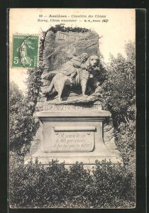 AK Asnières, Cimetière des Chiens, Grabstein für Barry auf dem Hunde-Friedhof