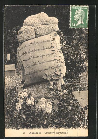 AK Asnières, Cimetière des Chiens, Grabstein auf dem Hunde-Friedhof