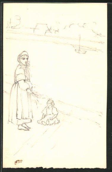 Künstler-AK Handgemalt: Mädchen sitzt neben seiner Mutter, die aufs Meer blickt 0
