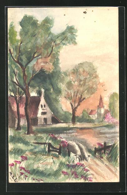 Künstler-AK Handgemalt: Dorfpartie mit Kirche und zwei Schafen auf dem Weg 0