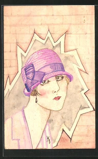 Künstler-AK Handgemalt: Dame mit rosa Hut blickt durch eine aufgesprengte Mauer, Mode 0