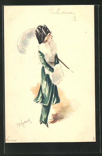 Künstler-AK Handgemalt: Dame im grünen Kostüm mit weissem Pelzmuff, Mode 0