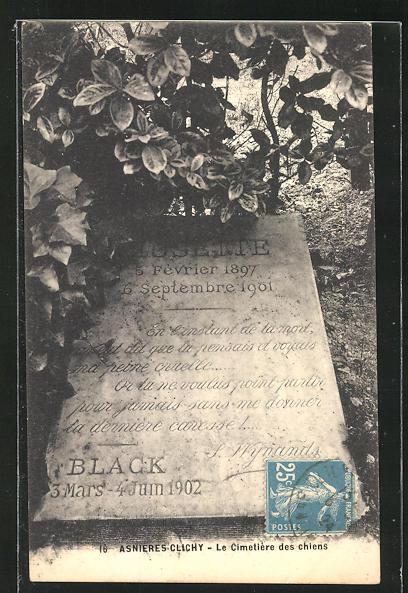 AK Asnières-Clichy, Cimetière des Chiens, Grabstein auf einem Hunde-Friedhof