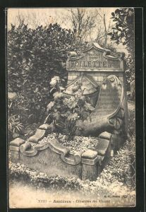 AK Asnières, Cimetière des Chiens, Grabstein auf einem Hunde-Friedhof