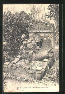 AK Asnières, Cimetière des Chiens, Grabstein für einen Hund namens Follette, Friedhof