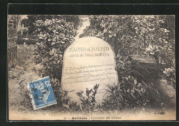 AK Asnières, Cimetière des Chiens, Grabstein auf einem Hund-Friedhof