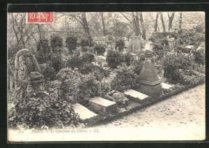 AK Paris, Cimetière des Chiens, Grabsteine auf einem Hunde-Friedhof