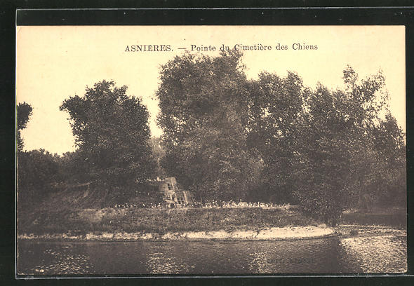 AK Asnières, Pointe du Cimetière des Chiens, Grabsteine auf einem Hunde-Friedhof