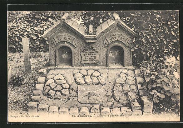 AK Asnières, Cimetière des Chiens, Grab auf einem Hunde-Friedhof 0