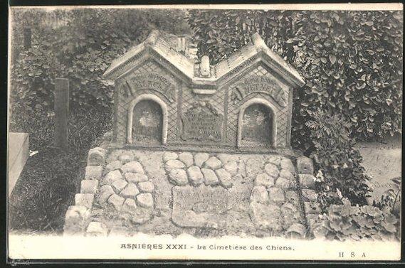 AK Asnières, Cimetière des Chiens, Hunde-Friedhof mit Gräbern für zwei Hunde namens Black und Yet-Yet
