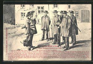 AK Paris, Voyage de Mimi, Reisender trifft Männer auf der Strasse