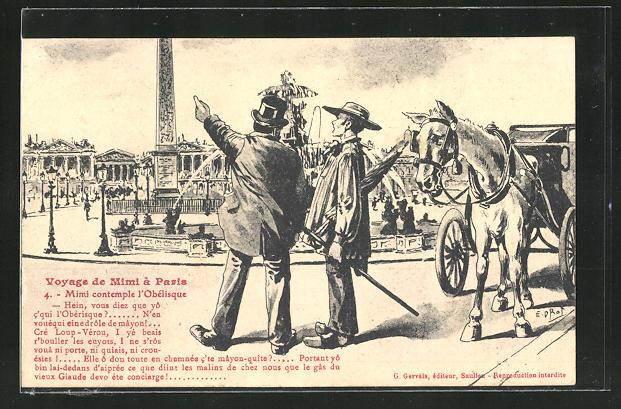AK Paris, Voyage de Mimi, Reisender betrachtet den Obelisk
