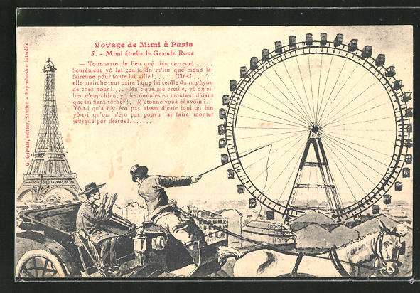 AK Paris, Voyage de Mimi, Mimi étudie la Grande Roue, Reisender betrachtet das Riesenrad