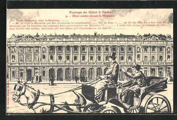 AK Paris, Voyage de Mimi, Mimi médite devant le Ministère, Reisender fährt am Ministerium vorbei