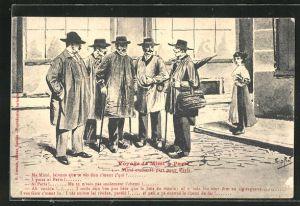 AK Paris, Voyage de Mimi, Reisender spricht mit anderen Männern
