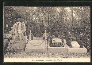 AK Asnières, Cimetière des Chiens, Grabsteine auf einem Hunde-Friedhof