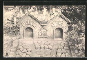 AK Friedhof, Grabsteine für zwei Hunde namens Black und Yet-Yet