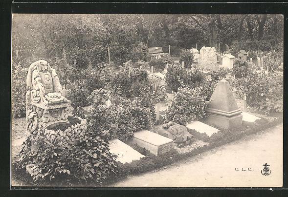 AK Hunde-Friedhof, Blick auf die Grabsteine 0