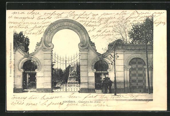 AK Asnières, Cimetière des Chiens, Hunde-Friedhof, Eingangsportal 0