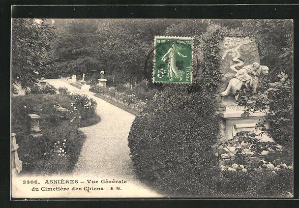AK Asnières, Vue générale du Cimetière des Chiens, Hunde-Friedhof