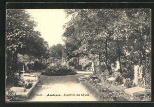 AK Asnières, Cimetière des Chiens, Blick auf den Hunde-Friedhof