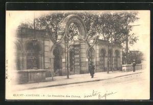 AK Clichy-Asnières, Cimetière des Chiens, Eingangsportal zum Hunde-Friedhof