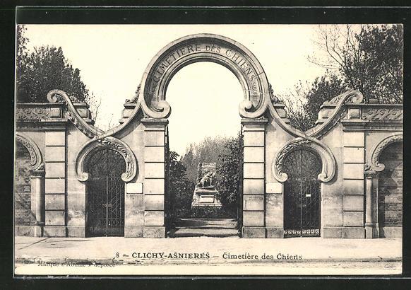 AK Clichy-Asnières, Cimetière des Chiens, Eingang zum Hunde-Friedhof