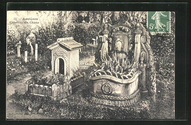 AK Asnières, Cimetière des Chiens, Gräber auf dem Hunde-Friedhof