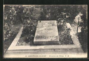 AK Asnières-Clichy, Cimetière des Chiens, Grabstelle auf dem Hunde-Friedhof