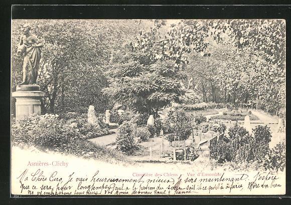 AK Asnières-Clichy, Cimetière des Chiens, Vue d`Ensemble, Blick auf den Hunde-Friedhof