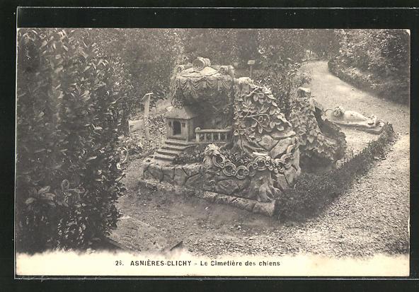 AK Asnières-Clichy, Cimetière des Chiens, Grabstätte auf dem Hunde-Friedhof