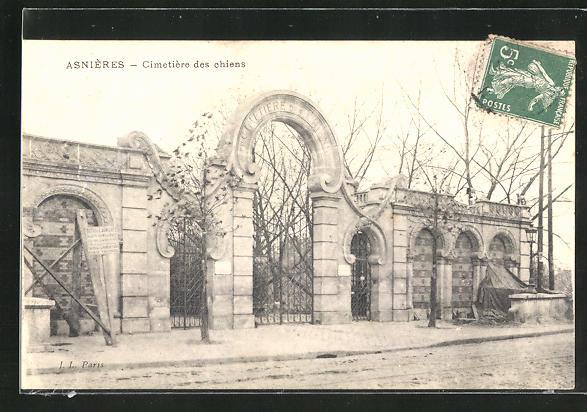 AK Asnières, Cimetière des Chiens, Eingang zum Hunde-Friedhof 0
