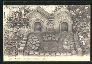 AK Paris, Cimetière des Chiens, Grabstätten auf dem Hunde-Friedhof