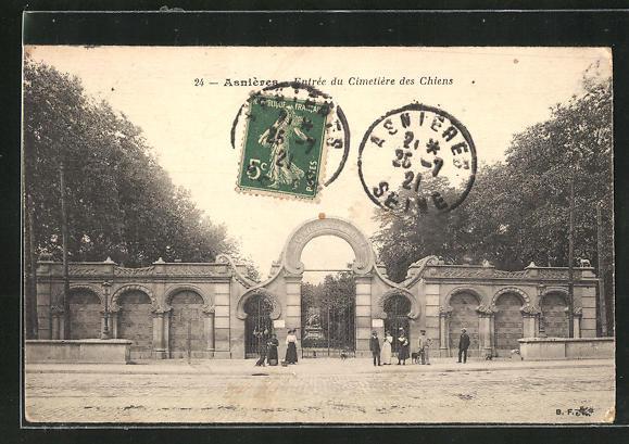 AK Asnières, Entrée du Cimetière des Chiens, Eingang zum Hunde-Friedhof 0