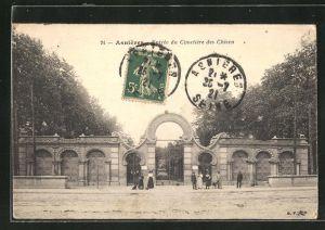AK Asnières, Entrée du Cimetière des Chiens, Eingang zum Hunde-Friedhof