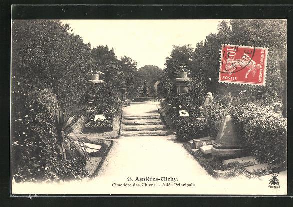 AK Asnières-Clichy, Cimetière des Chiens, Allée principale, Blick auf den Hunde-Friedhof