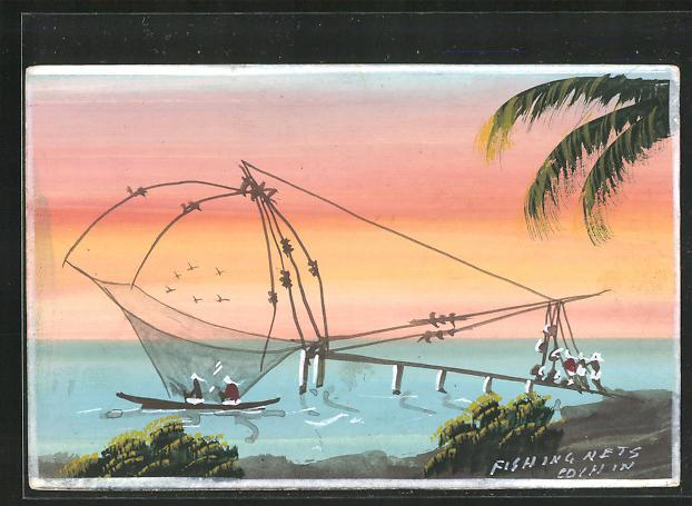 Künstler-AK Handgemalt: Indien / Kochi, Fischer mit ihrem Fischernetz am Strand