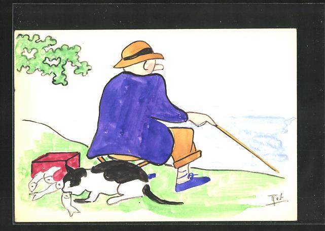 Künstler-AK Handgemalt: Katze stibitzt die gefangenen Fische des Anglers 0